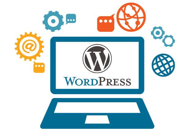 Laptop with WordPress logo