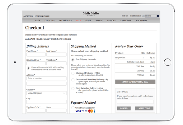 ecommerce one page checkout