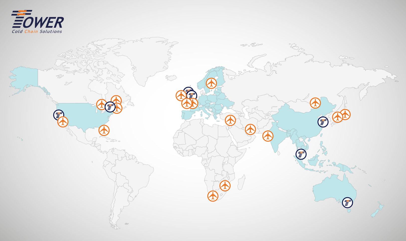 Illustration map world locations
