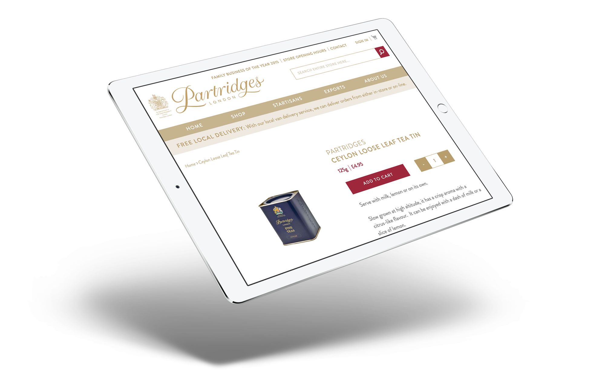 ecommerce web design for partridges